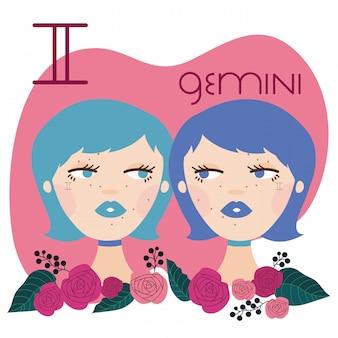 Hermosa mujer con ilustración de signo del zodiaco géminis
