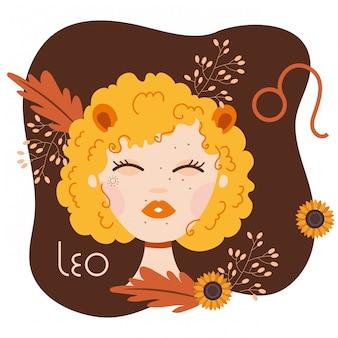 Hermosa mujer con ilustración de signo del zodiaco leo