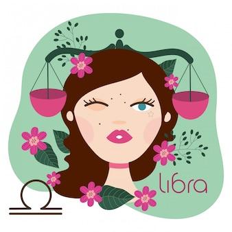 Hermosa mujer con ilustración de signo del zodiaco libra