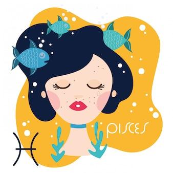 Hermosa mujer con ilustración de signo del zodiaco de piscis