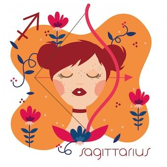 Hermosa mujer con ilustración de signo del zodiaco sagitario
