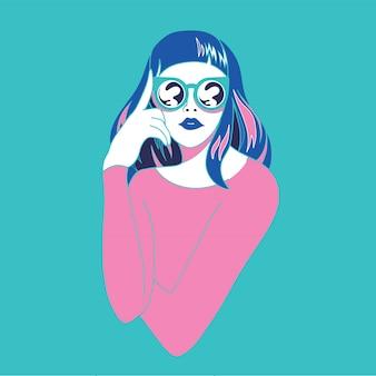 Hermosa mujer joven con gafas de sol de estilo retro. arte pop. vacaciones de verano. ilustración vectorial