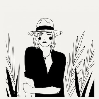 Hermosa mujer joven con sombrero y blusas minimalismo ilustración en blanco y negro arte lineal