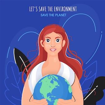 Hermosa mujer joven sosteniendo globo terráqueo con hojas sobre fondo azul para salvar el medio ambiente y el concepto de planeta.