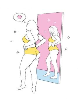 Una hermosa mujer en lencería mira su reflejo en el espejo