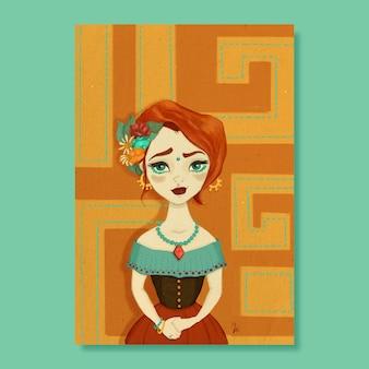 Hermosa mujer mexicana pintada a mano con patrón en el fondo