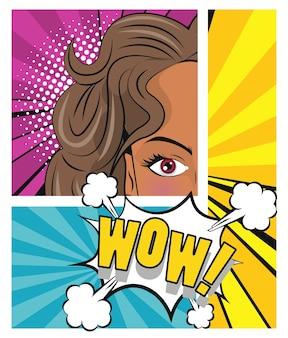 Hermosa mujer morena y cartel de estilo pop art de expresión wow.