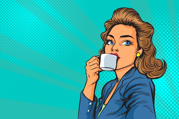 Hermosa mujer de negocios tomando un café en la mañana en el arte pop