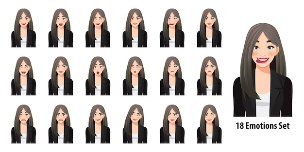Hermosa mujer de negocios en traje negro con diferentes expresiones faciales aisladas en estilo de personaje de dibujos animados
