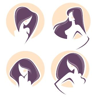 Hermosa mujer con pelo largo, vector emblemas y logo.