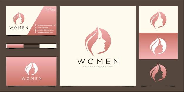 Hermosa mujer peluquería gradiente logo y tarjeta de visita