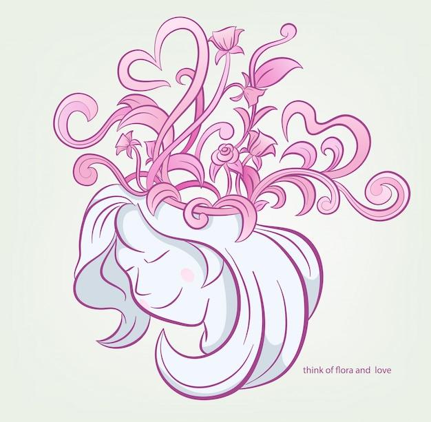 Hermosa mujer piensa con flores y corazón