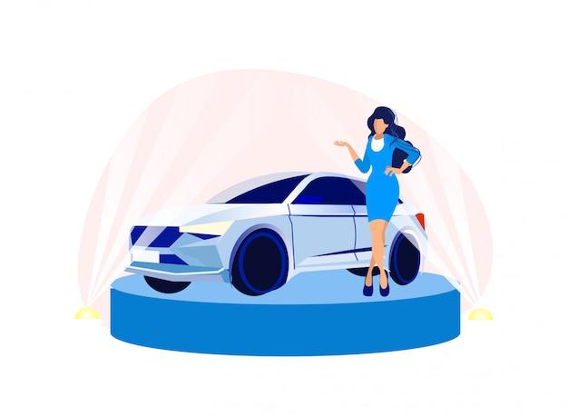 Hermosa mujer presentadora modelo de salón del automóvil