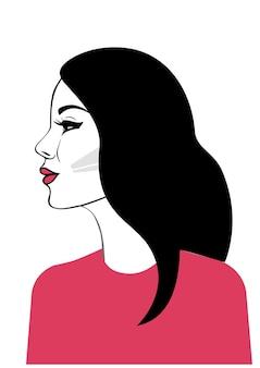 Hermosa mujer en retrato de perfil de una elegante dama en rojo con cabello negro