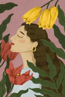 Hermosa mujer rodeada de ilustración de la naturaleza