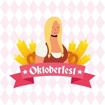 Hermosa mujer rubia alemana avatar ilustración vectorial character design