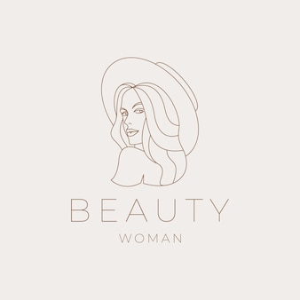 Hermosa mujer con sombrero de verano. belleza, vector de diseño de logotipo de arte de línea femenina