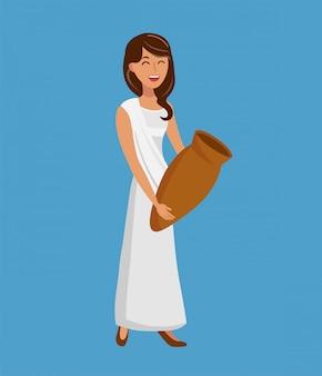Hermosa mujer sosteniendo ilustración vectorial jarra