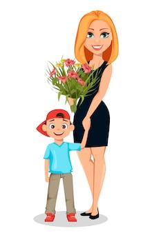 Hermosa mujer sostiene la mano de su pequeño hijo