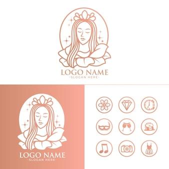 Hermosa mujer vector logo e icono plantilla