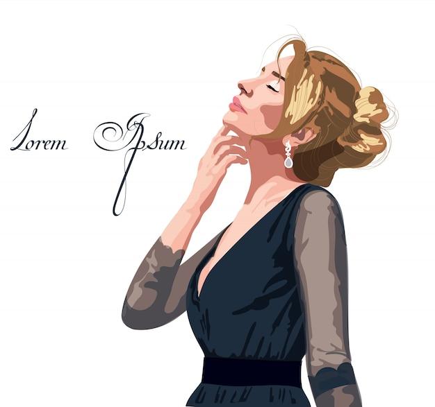 Hermosa mujer en un vestido negro