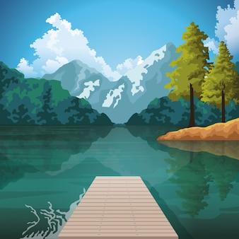 Hermosa naturaleza paisaje dibujo paisaje