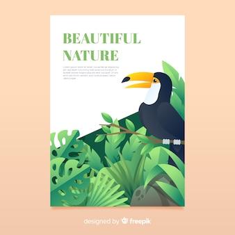 Hermosa naturaleza y plantilla de cartel de viaje