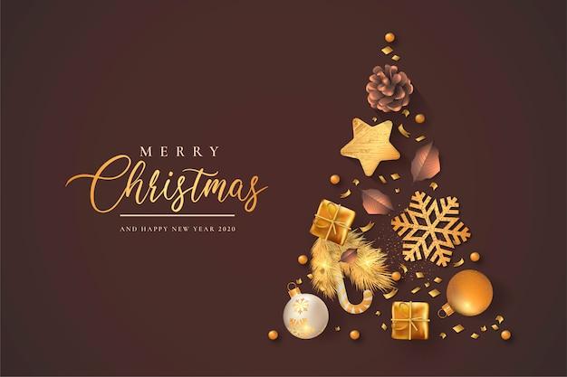 Hermosa navidad con decoración dorada