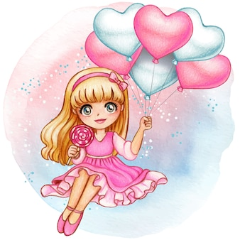 Hermosa niña acuarela con románticos globos de corazón de color rosa