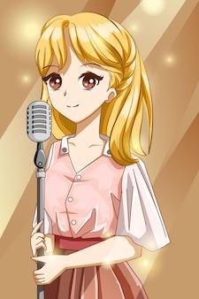 Hermosa niña cantando en la ilustración de dibujos animados de personaje de diseño de estudio