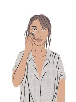 Una hermosa niña cuida la piel de su cara. la mujer mancha la crema facial, limpiando e hidratando la piel. procedimientos higiénicos, autocuidado diario. ilustración aislada en un fondo blanco.