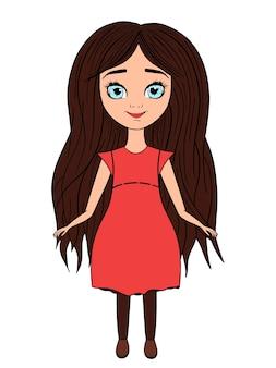 Hermosa niña de dibujos animados con ojos verdes con bozales en la cabeza.