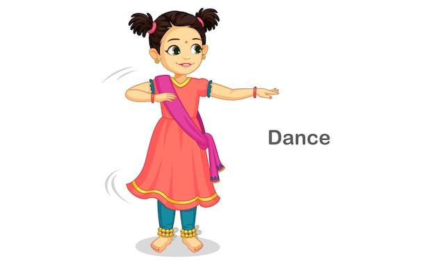 Hermosa niña linda bailando danza clásica india