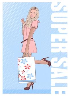 Hermosa niña regresa de compras con compras