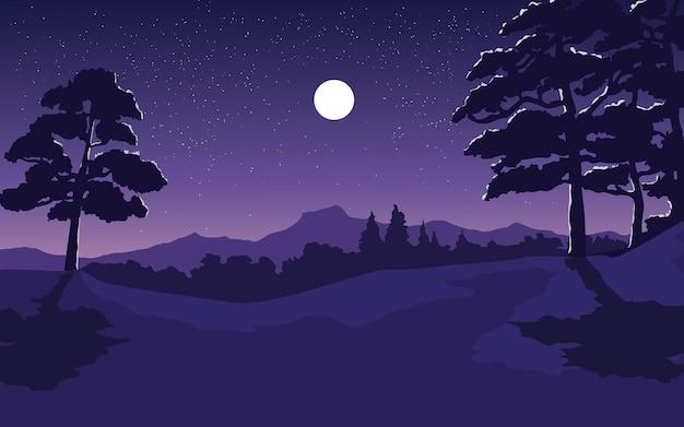 Hermosa noche de bosque con luna y estrellas.