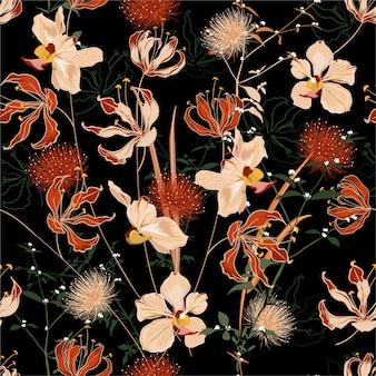 Hermosa noche de verano bosque salvaje lleno de flores en flor en muchos tipos de patrones sin fisuras florales.