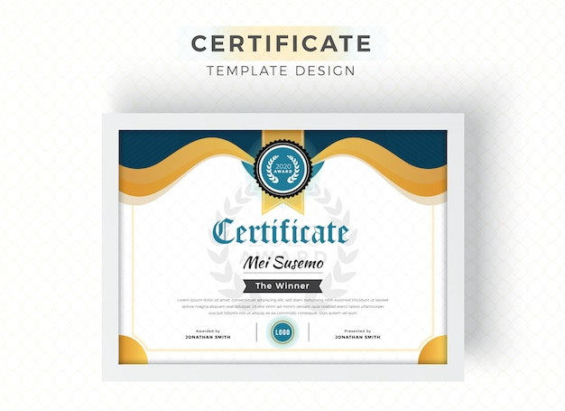 Hermosa ondulada plantilla de certificado de diploma