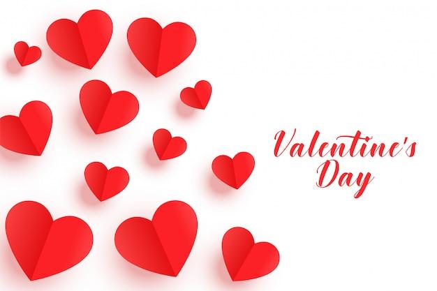 Hermosa origami corazones rojos tarjeta de felicitación del día de san valentín