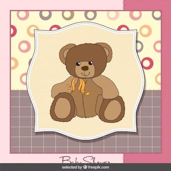 Hermosa oso de peluche tarjeta de bienvenida del bebé