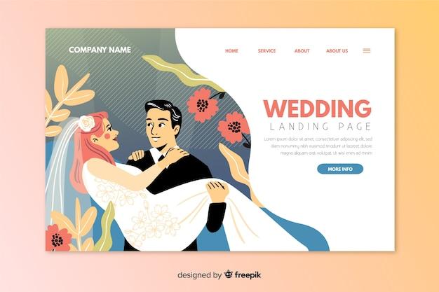 Hermosa página de aterrizaje de boda