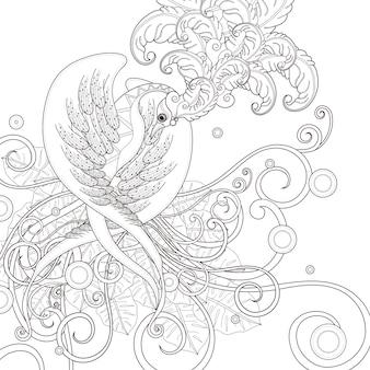 Hermosa página para colorear de aves en un estilo exquisito