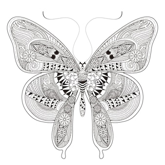 Hermosa página para colorear de mariposas en un estilo exquisito