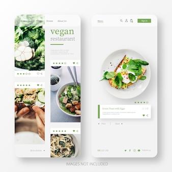 Hermosa página de restaurante de comida vegana para móvil