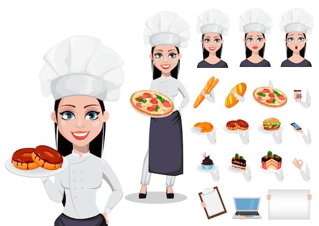 Hermosa panadera en uniforme profesional.