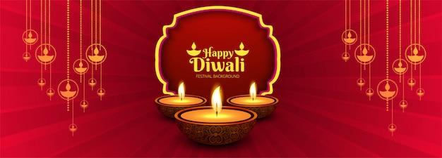Hermosa pancarta de diwali con decoración de diya