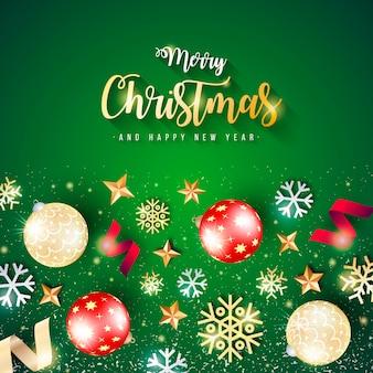 Hermosa pancarta de navidad con fondo verde