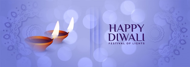 Hermosa pancarta sutil feliz diwali en color azul