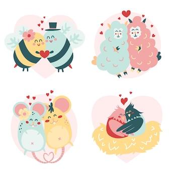 Hermosa pareja de animales de san valentín