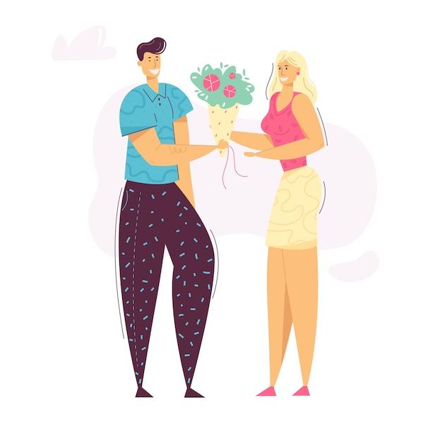 Hermosa pareja feliz. los personajes de hombre y mujer enamorados son