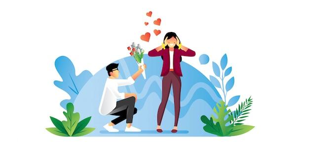 Hermosa pareja en la ilustración de amor